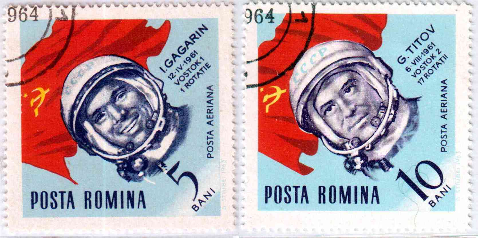 Romanian stamps - Yuri Gagarin and Gherman S.Titov