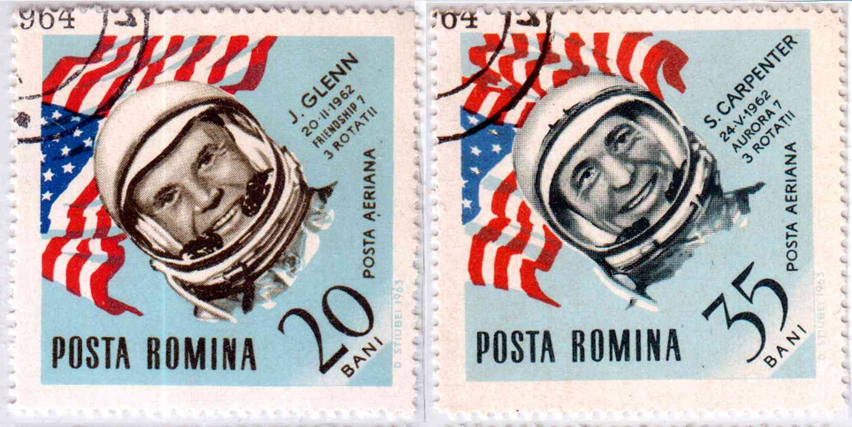 Romanian stamps - John Glenn and Scott Carpenter