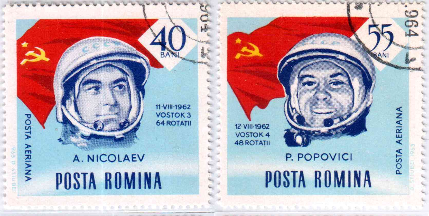 Romanian stamps - Andrijan Nikolajev and Pavel Popowitsch