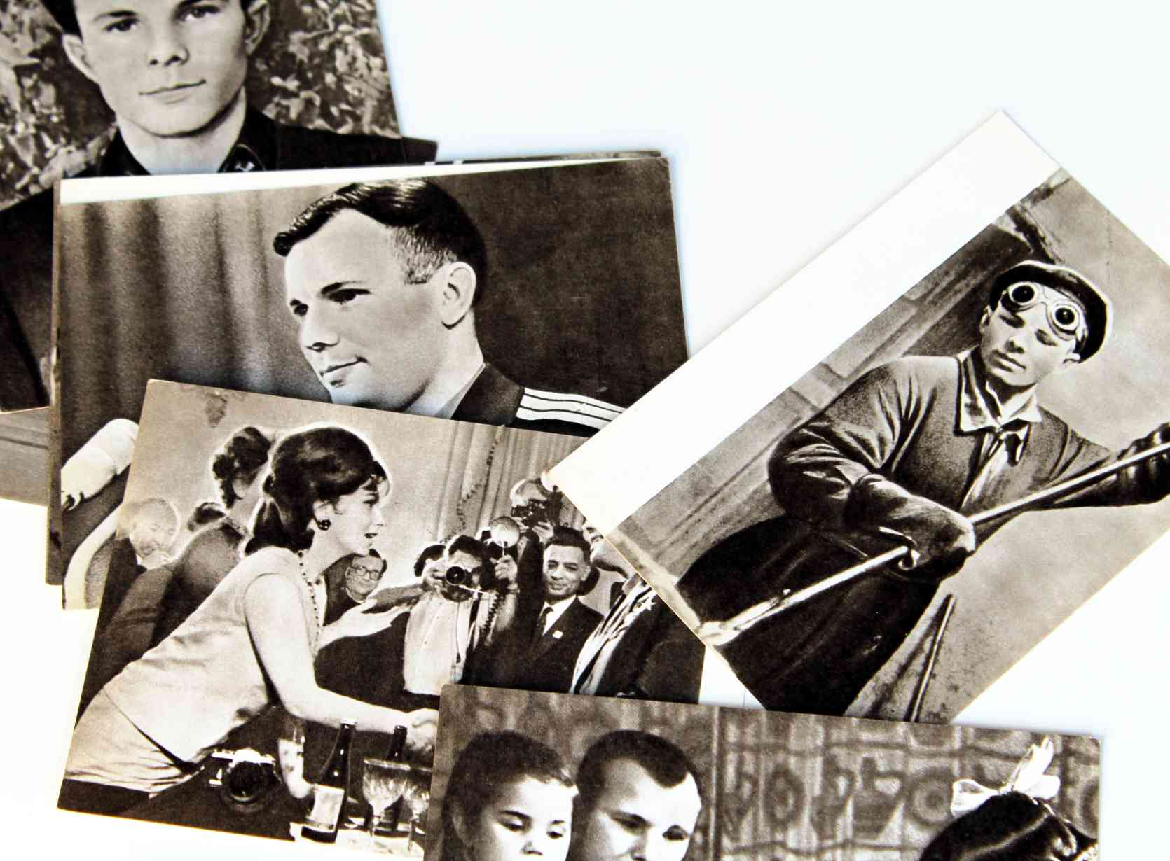 Yuri Gagarin postcard set including his meeting with Gina Lollobrigida!